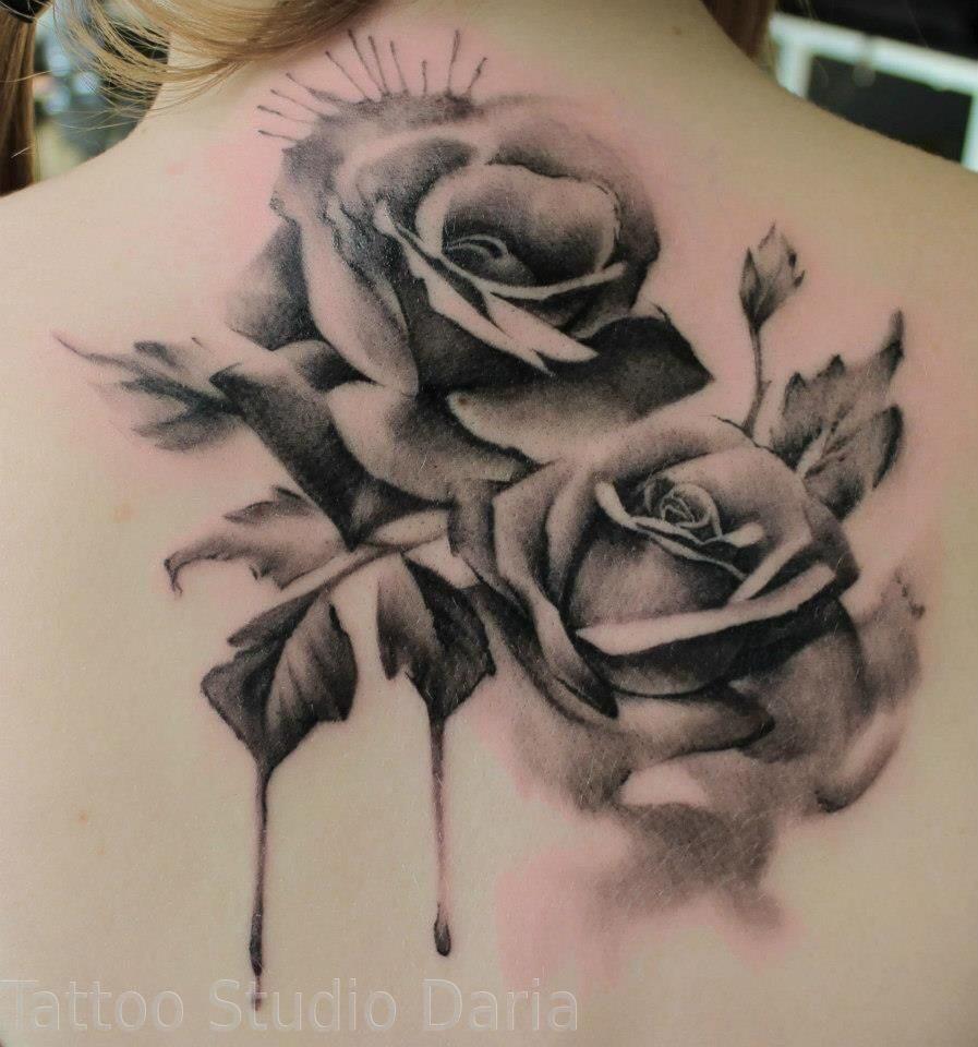 Эскиз тату розы на всю спину