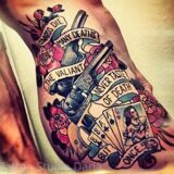 old-school-gun-and-playing-cards-tattoo-on-ribs